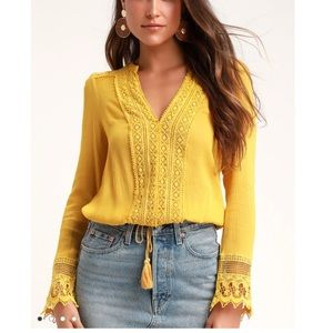 Bali Daydream Golden Yellow Lace Long Sleeve Top L